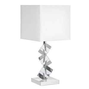 Lampe de table, finition chrome poli et blanche, 1 X A19