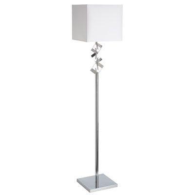 Lampe de plancher, finition chrome poli et blanche, 1 X A19