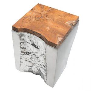 Table en coin, finition argent et bois naturel