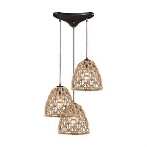 Luminaire suspendu, finition bronze brossé huilé avec corde, 3 X A19