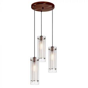 Luminaire suspendu, finition bronze brossé, 3 X A19