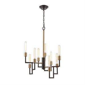 Luminaire suspendu, finition bronze brossé huilé, 9 X A19