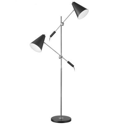 Lampe de plancher, finition noir mat et chrome, 2 X A19