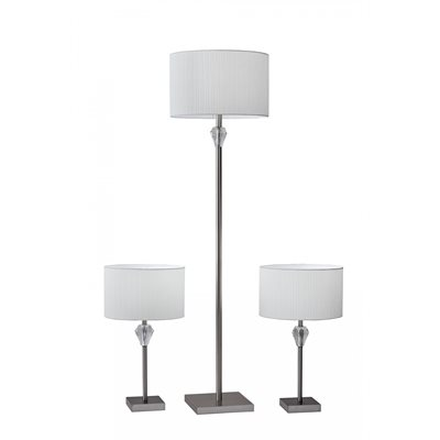 Ensemble de lampe, finition nickel brossé, 3 X A19