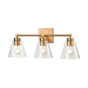 Wall light, satin brass finish, 3 X A19