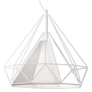 Luminaire suspendu, finition blanche, 1 X A19