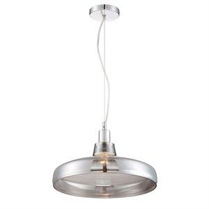 Luminaire suspendu, finition chrome et verre fumée, 1 X A19