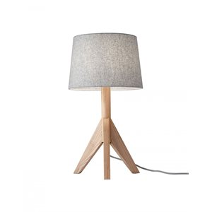 Lampe de table, finition grise, 1 X A19