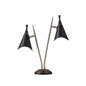 Lampe de table, finition noire, 2 X A19