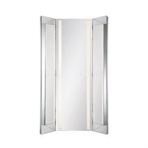 Miroir éclairé DEL, finition chrome, 60 watts