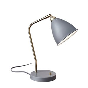 Lampe de table, finition grise, 1X A15