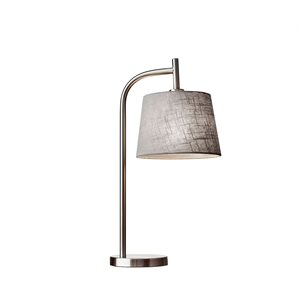 Lampe de table, finition nickel brossé, 1 X A19