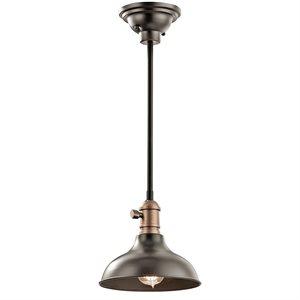 Luminaire suspendu, finition bronze ancien, 1 X A19