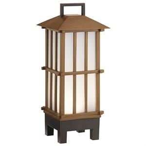 Lampe de table avec haut parleur bluetooth, DEL, finition brune, 3000K