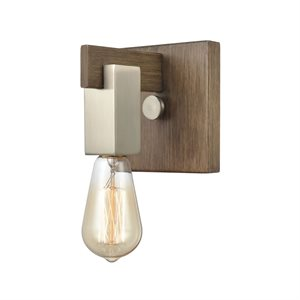 Wall light, satin nickel and wood finish, 1 X A19