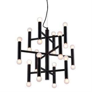 Luminaire suspendu, finition noir métal, 24 X culot E12