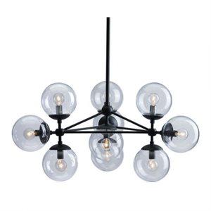 Luminaire suspendu, finition noire et verre, 10 X culot E12