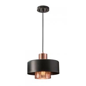 Luminaire suspendu, finition noir et cuivre brossé, 1 X A19