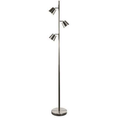 Lampe de plancher, DEL, finition chrome satiné, 15 watts, 3000K