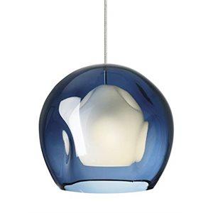 Luminaire suspendu, finition nickel brossé et verre bleu, 1 X JC12VC