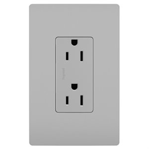 15 amps outlet, grey finish