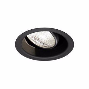 Finition noire mat DEL, ronde dirigeable, en retrait, 14 watts, 4000K, 24 degrés