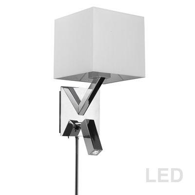 Lampe de lecture mural DEL, finition chrome poli, 60 watts, 3000K, 1 X A19