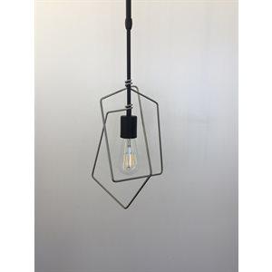 Luminaire suspendu, finition noire et argent, 1 X A19