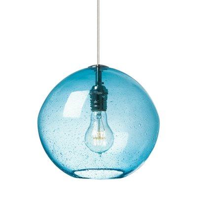 X Aqua1 Brossé A19 SuspenduFinition Luminaire Nickel Avec Verre Bleu kuPXZi