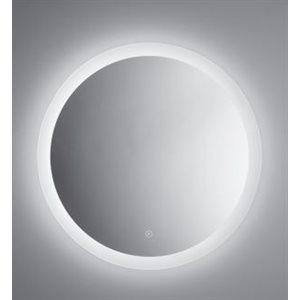Miroir lumineux rond, 24'' diamètre, interrupteur intégré