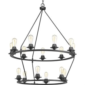 Luminaire suspendu, finition noire, 15 X A19