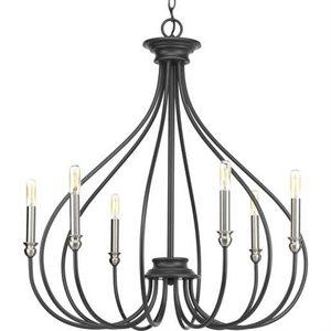 Luminaire suspendu, finition grise, 6 X culot E12