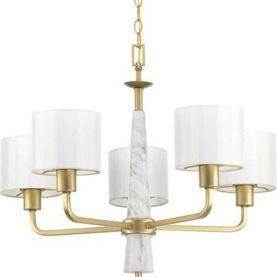 Luminaire suspendu, finition dorée et marbre, 5 X A15