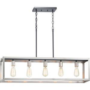 Luminaire suspendu, finition grise, 5 X A19