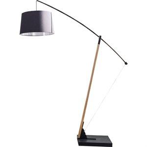 Lampe de plancher, finition noir mat et bois, 1 X A19