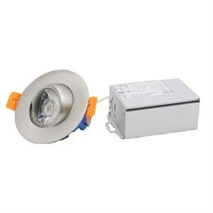 Encastré orientable DEL, 8 watts, 45 degrés, blanc ajustable avec interrupteur intégré